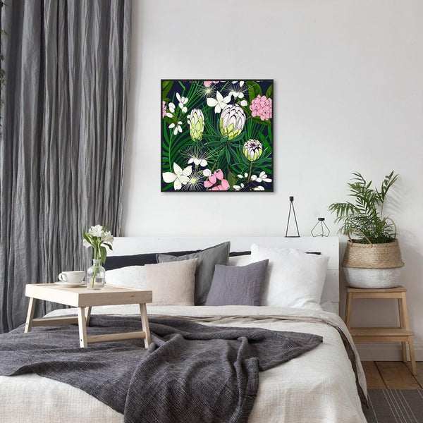 Wall-Art-Poster-Canvas-Framed-Australian native flowers, lime flower, protea and pink lilly pilly-Gioia Wall Art