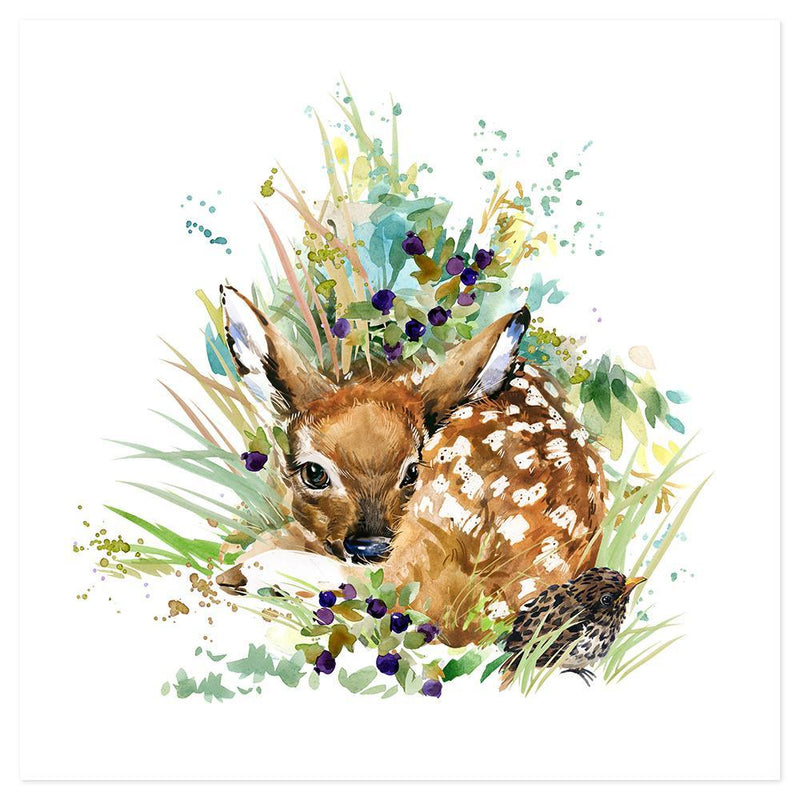 Wall-Art-Poster-Canvas-Framed-Baby deer, Watercolour painting style-Gioia Wall Art
