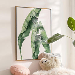 Wall-Art-Poster-Canvas-Framed-Banana Tree Leaves, Watercolour-Gioia Wall Art