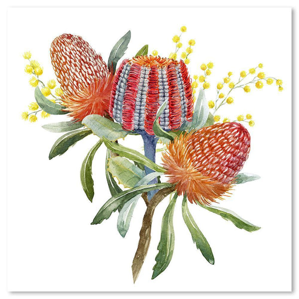 Wall-Art-Poster-Canvas-Framed-Banksia and wattle bouquet-Gioia Wall Art