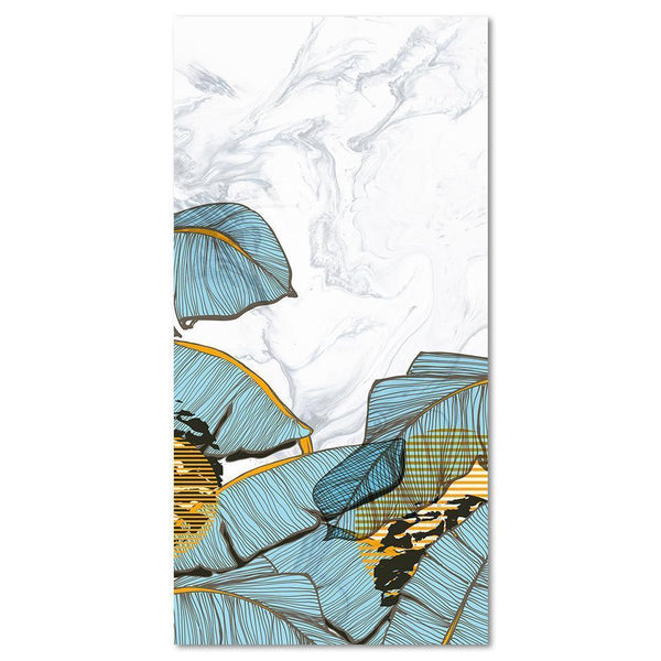Wall-Art-Poster-Canvas-Framed-Blue Banana Leaves On Marble Pattern Background-Gioia Wall Art