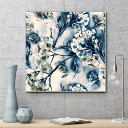 Wall-Art-Poster-Canvas-Framed-Blue Blooms-Gioia Wall Art