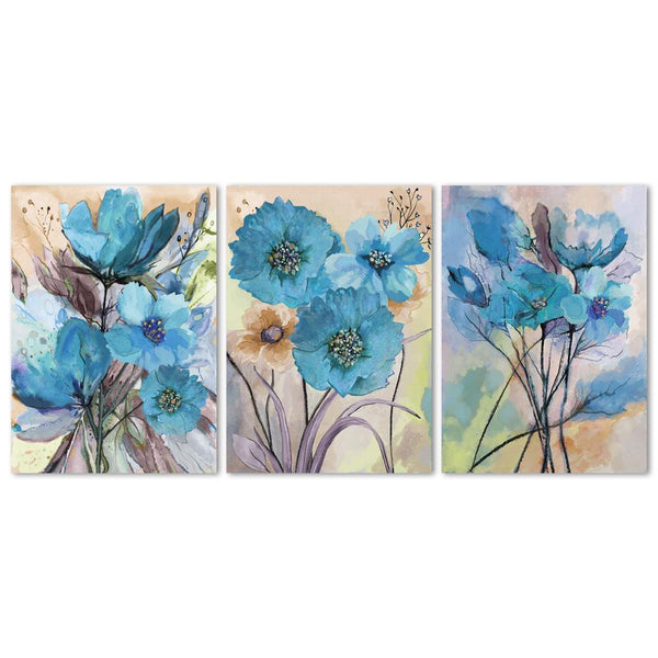 Wall-Art-Poster-Canvas-Framed-Blue Flowers, Watercolour Painting, Set Of 3-Gioia Wall Art