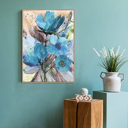 Wall-Art-Poster-Canvas-Framed-Blue Flowers, Watercolour Painting, Style A-Gioia Wall Art