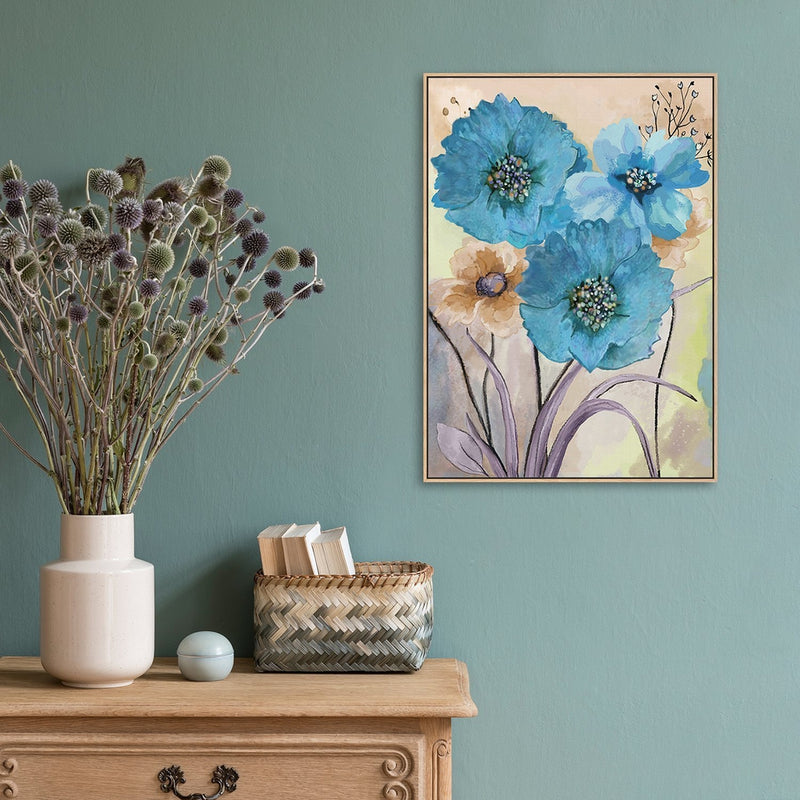 Wall-Art-Poster-Canvas-Framed-Blue Flowers, Watercolour Painting, Style B-Gioia Wall Art