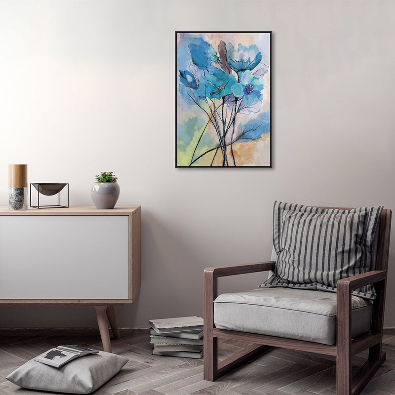 Wall-Art-Poster-Canvas-Framed-Blue Flowers, Watercolour Painting, Style C-Gioia Wall Art