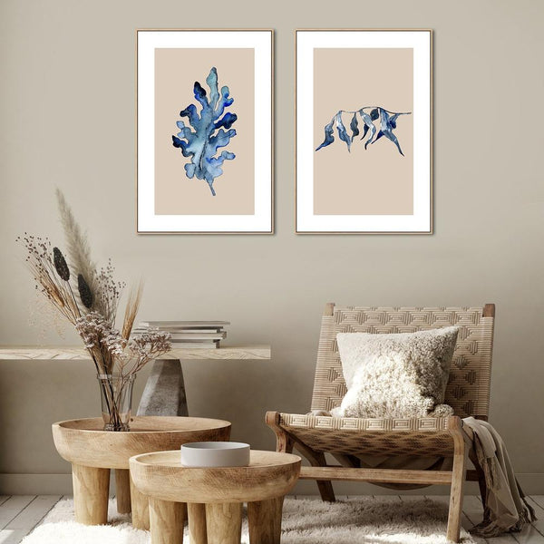 Wall-Art-Poster-Canvas-Framed-Blue Leaf, Set of 2, Style C-Gioia Wall Art