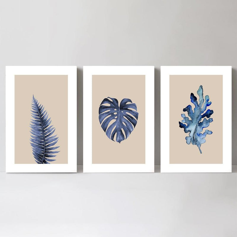 Wall-Art-Poster-Canvas-Framed-Blue Leaf, Set of 3-Gioia Wall Art