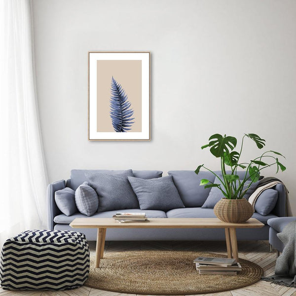 Wall-Art-Poster-Canvas-Framed-Blue Leaf, Style A-Gioia Wall Art