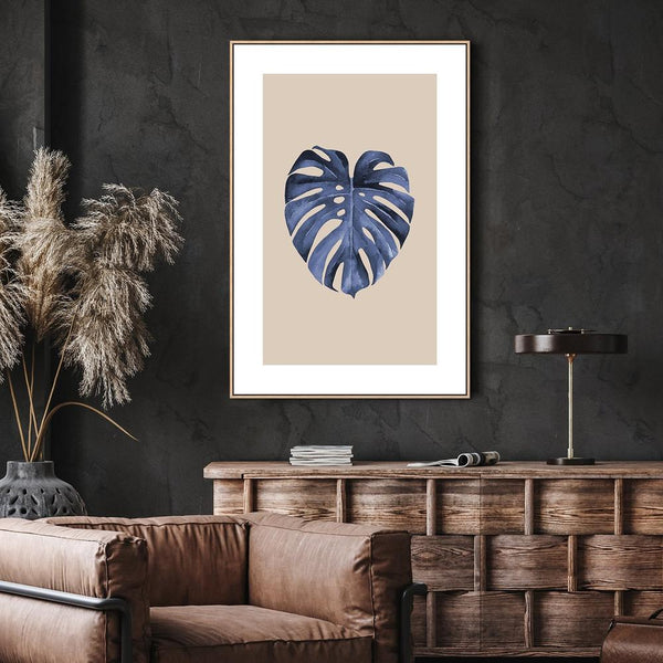 Wall-Art-Poster-Canvas-Framed-Blue Leaf, Style B-Gioia Wall Art