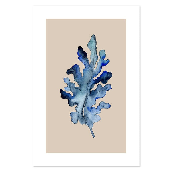 Wall-Art-Poster-Canvas-Framed-Blue Leaf, Style C-Gioia Wall Art