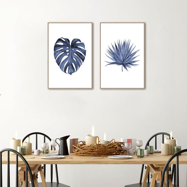 Wall-Art-Poster-Canvas-Framed-Blue Monstera Leaf, Indigo Watercolour Painting Style, Set of 2-Gioia Wall Art