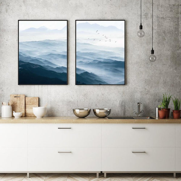 Wall-Art-Poster-Canvas-Framed-Blue Mountains, Set Of 2-Gioia Wall Art
