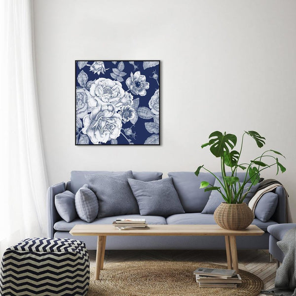 Wall-Art-Poster-Canvas-Framed-Blue Peonies Bouquet, Vintage Floral Print, Flowers, Indigo Blue, Style B-Gioia Wall Art