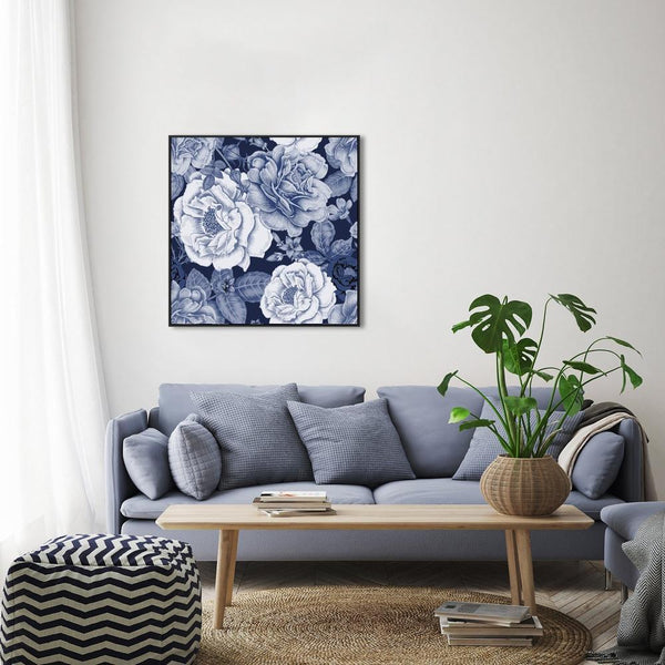 Wall-Art-Poster-Canvas-Framed-Blue Peonies Bouquet, Vintage Floral Print, Flowers, Indigo Blue, Style C-Gioia Wall Art