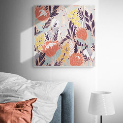 Wall-Art-Poster-Canvas-Framed-Blushing Protea and Native Botanics-Gioia Wall Art