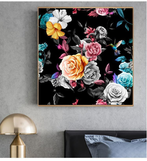 Wall-Art-Poster-Canvas-Framed-Bouquet And Hummingbird-Gioia Wall Art