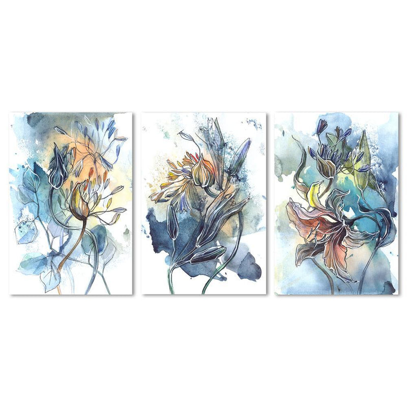 Wall-Art-Poster-Canvas-Framed-Breathe, Abstract Art, Watercolour Painting, Set Of 3-Gioia Wall Art