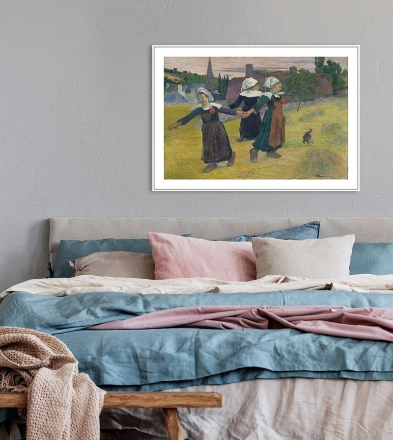 Wall-Art-Poster-Canvas-Framed-Breton Girls Dancing, Pont-Aven, by Paul Gauguin-Gioia Wall Art