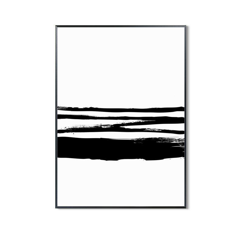 Wall-Art-Poster-Canvas-Framed-Brush Painting, Black And White, Style C-Gioia Wall Art
