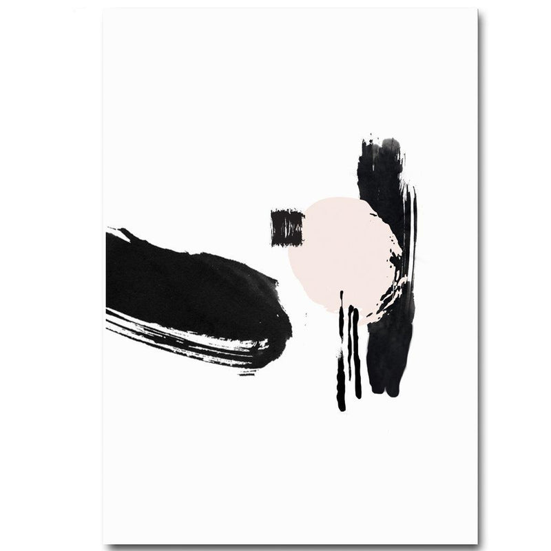 Wall-Art-Poster-Canvas-Framed-Brush Painting, Blush And Black, Abstract, Style A-Gioia Wall Art