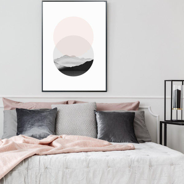 Wall-Art-Poster-Canvas-Framed-Brush Painting, Blush And Black, Abstract, Style B-Gioia Wall Art