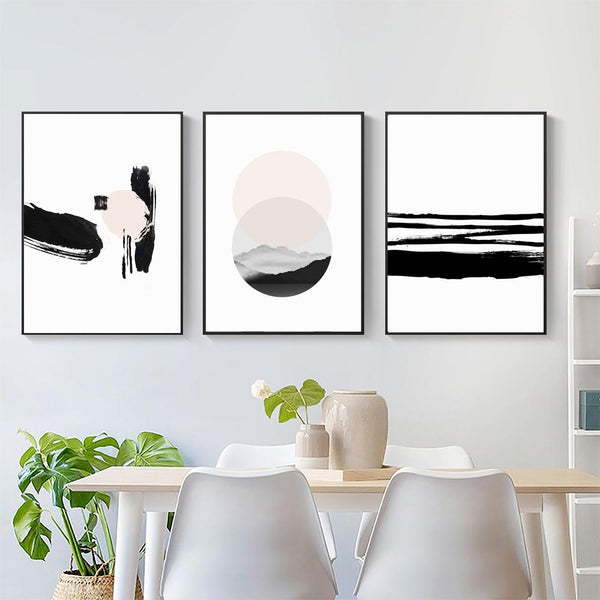 Wall-Art-Poster-Canvas-Framed-Brush Painting, Blush And Black, Set Of 3-Gioia Wall Art