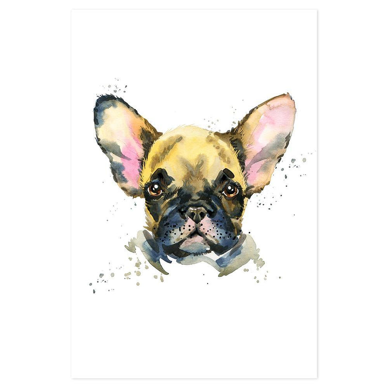 Wall-Art-Poster-Canvas-Framed-Bulldog, Watercolour painting style-Gioia Wall Art