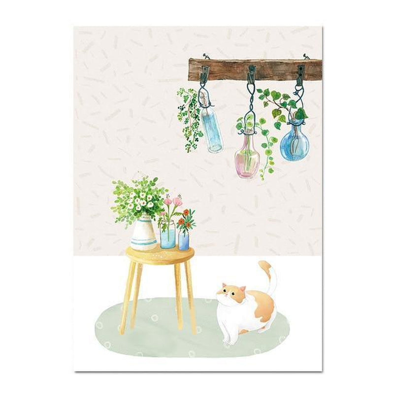 Wall-Art-Poster-Canvas-Framed-Cat And Plants-Gioia Wall Art