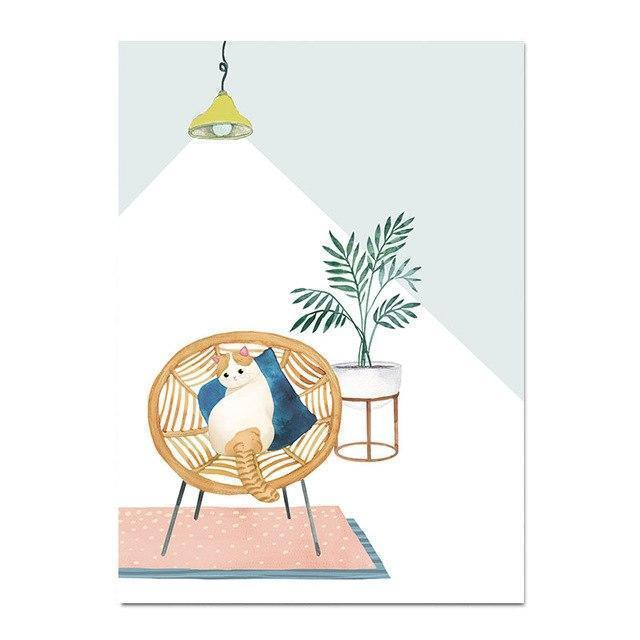 Wall-Art-Poster-Canvas-Framed-Cat On An Armchair-Gioia Wall Art