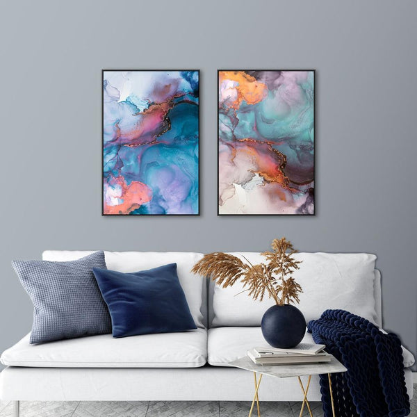 Wall-Art-Poster-Canvas-Framed-Celebration, Colourful Abstract Art, Set of 2-Gioia Wall Art