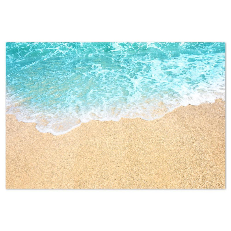 Wall-Art-Poster-Canvas-Framed-Clear Blue Sea, Golden Sand Beach, Sea Ocean And Beach Print-Gioia Wall Art