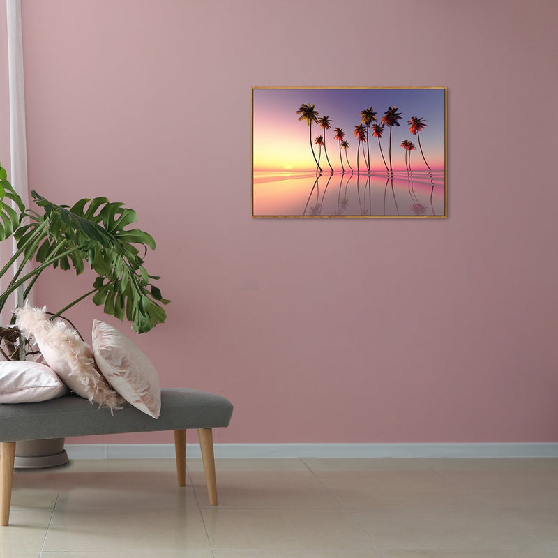 Wall-Art-Poster-Canvas-Framed-Coconut Palms Reflections Sunset, Over The Calm Beach-Gioia Wall Art