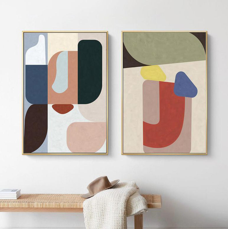 Wall-Art-Poster-Canvas-Framed-Colour Blocks, Abstract, Set Of 2-Gioia Wall Art