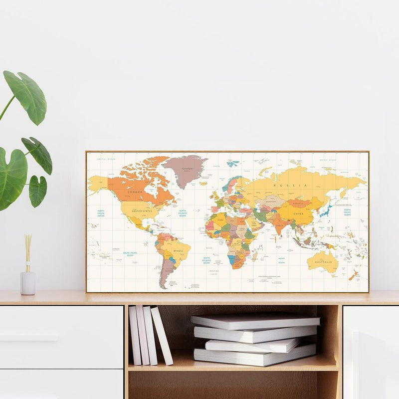 Wall-Art-Poster-Canvas-Framed-Colourful world map, style A-Gioia Wall Art