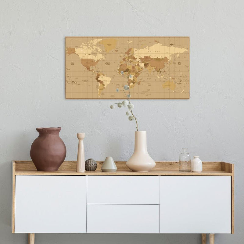 Wall-Art-Poster-Canvas-Framed-Colourful world map, style B-Gioia Wall Art