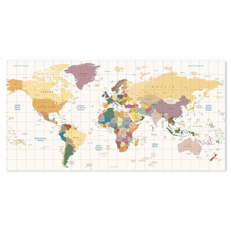 Wall-Art-Poster-Canvas-Framed-Colourful world map, style C-Gioia Wall Art