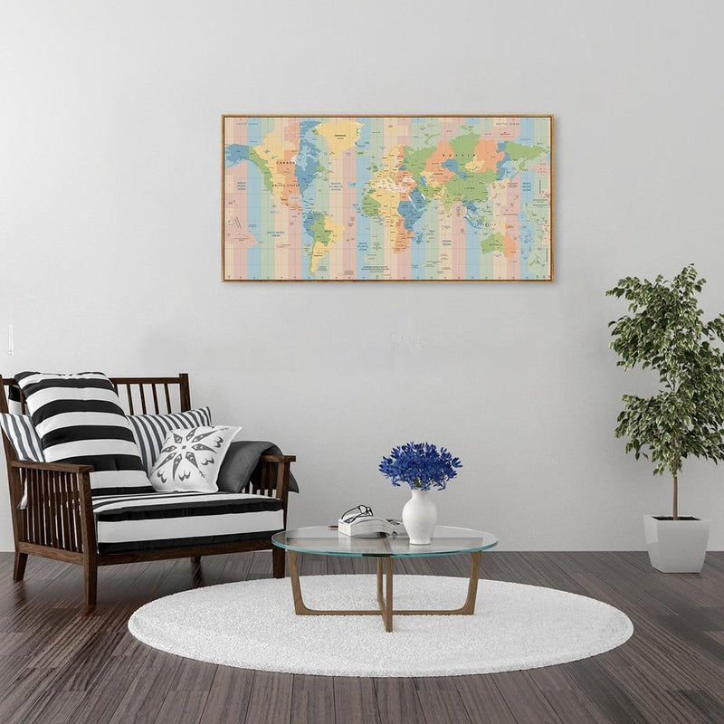 Wall-Art-Poster-Canvas-Framed-Colourful world map, style D-Gioia Wall Art