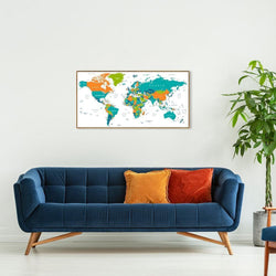 Wall-Art-Poster-Canvas-Framed-Colourful world map, style E-Gioia Wall Art