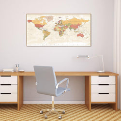 Wall-Art-Poster-Canvas-Framed-Colourful world map, style F-Gioia Wall Art