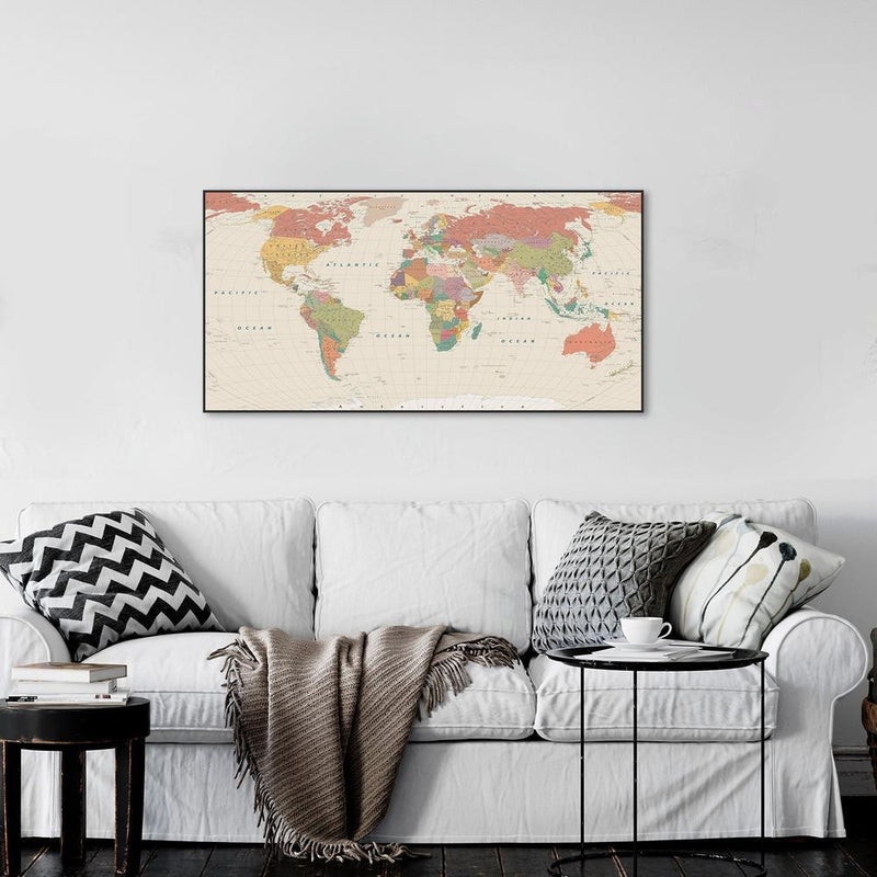Wall-Art-Poster-Canvas-Framed-Colourful world map, style G-Gioia Wall Art