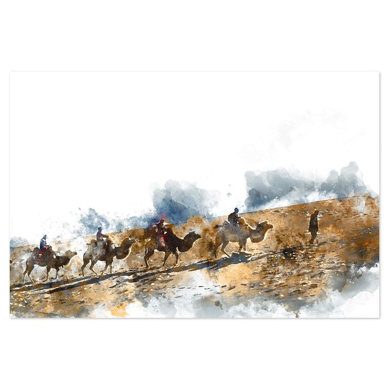 Wall-Art-Poster-Canvas-Framed-Conquers, A group of Camels and mountain climbers, Abstract Art-Gioia Wall Art