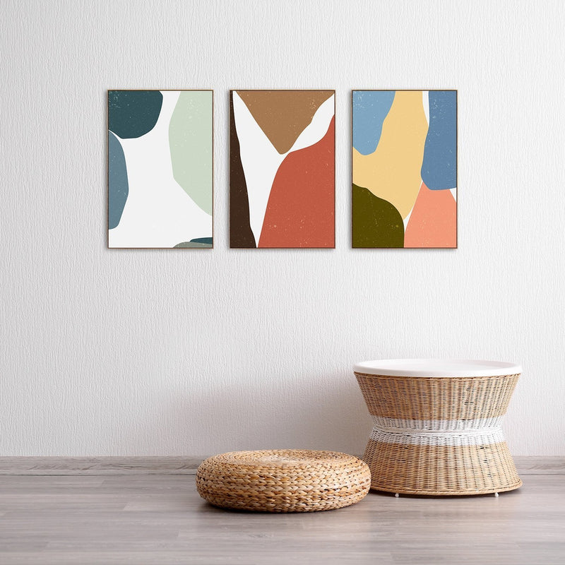 Wall-Art-Poster-Canvas-Framed-Corner, Abstract Art, Set Of 3-Gioia Wall Art