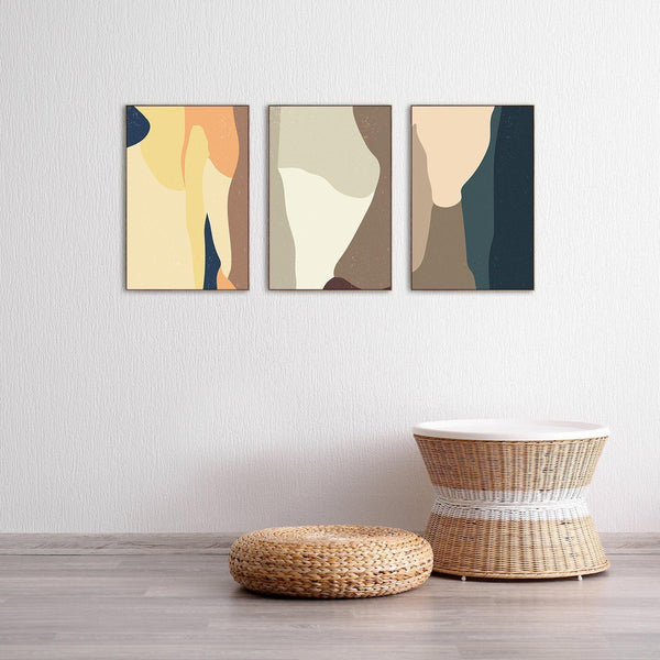 Wall-Art-Poster-Canvas-Framed-Creamy touch, Set of 3-Gioia Wall Art