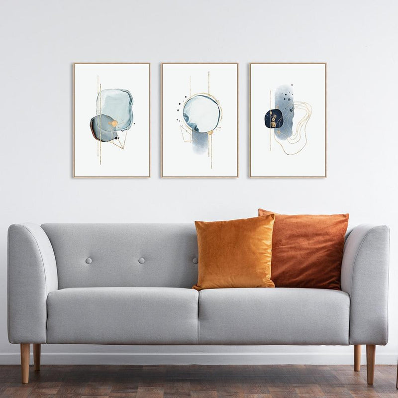 Wall-Art-Poster-Canvas-Framed-Crystal Blue with Gold touch, Set of 3-Gioia Wall Art