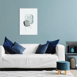 Wall-Art-Poster-Canvas-Framed-Crystal Blue with Gold touch, Style A-Gioia Wall Art