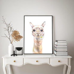 Wall-Art-Poster-Canvas-Framed-Cute Llama With Chamomile, Watercolour Painting Style-Gioia Wall Art