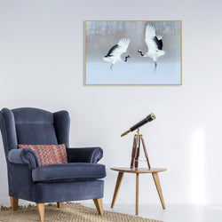 Wall-Art-Poster-Canvas-Framed-Dancing Cranes-Gioia Wall Art