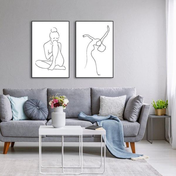 Wall-Art-Poster-Canvas-Framed-Dancing Girl, Line Art, Set Of 2-Gioia Wall Art