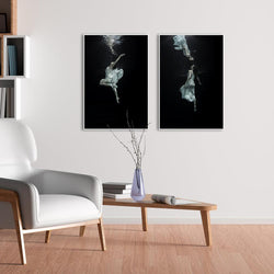 Wall-Art-Poster-Canvas-Framed-Dancing underwater, Set Of 2-Gioia Wall Art